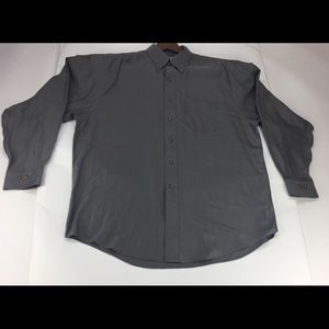 Brooks Bothers 346 Gray Herringbone Shirt XL